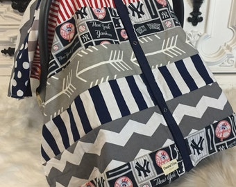 car seat cover / New York Yankees / OOAK /carseat canopy / nursing cover /  infant car seat canopy / carseat cover