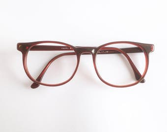 Vintage 1980's Happy Round Red Plastic Eyeglasses