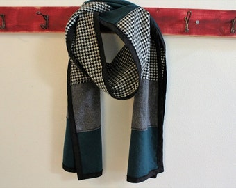 Patchwork Bound Wool Scarf, Black and White, Teal, Grey, Boro Scarf