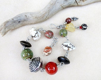 Chunky Bracelet, Stones, Ceramic, Wood, Beads, Wire Wrap, Silver, Green, Red, Yellow, White, Multicolor, Adjustable, Handmade, Gift for Her