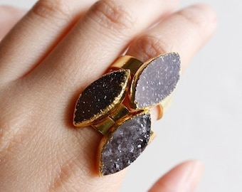 50 OFF SALE Black and Brown Druzy Quartz Gemstone Rings - Leaf Druzy Stone - Adjustable Rings