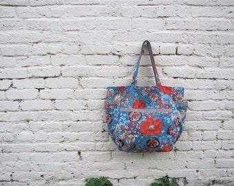Boho Chic Wildflower Weekender - Blue & Orange Floral Print - Travel / Mom / Teacher Tote - Eco Friendly Holiday - Under 40 Her Gift - Vegan