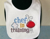 """Gifts for baby boy, Baby shower gift, Embroidery, Embroidered terry cloth baby bib with saying """"Chef in training"""", Cook,  KBD 20120"""
