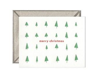 Christmas Trees letterpressed card - single