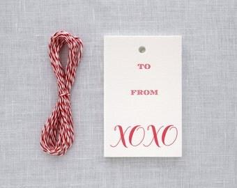 Letterpress Gift Tags - XOXO Calligraphy Set of 10