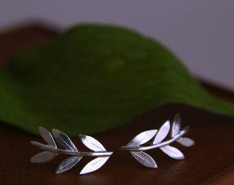 Silver Ear Cuff, Olive Branch Stud Earrings, Leaf Wrap Earrings, Sterling silver handmade earrings, summer jewellery gift, curved earrings