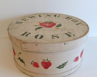 50% off Sale ON SALE Vintage Cheese Box, Sewing Box, Stenciled Wooden box