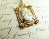 Vintage Cameo Necklace Pendant 12 Karat Gold Filled Setting Carved Shell