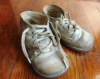 Vintage Leather Baby Shoes First Steps Tattered Worn Aged Character
