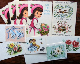 Vintage Birthday Note cards Gift Enclosures Mini Greetings LOT