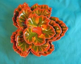 Set of 3 Stackable Maple Leaf Dishes, Set of 3 Candy Dishes, Gift Set, Ceramic Leaf Set, Colorful Leaf Stackable Bowls, Leaf Dishes Set