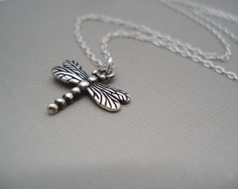 Tiny Sterling silver Dragonfly Necklace...Nature, Inspirational jewelry, Symbolic pendant, Bridesmaid gift, Gift for her