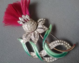 Diamante Large Flower Brooch Pin Fushia Feathers Free Shipping To The Usa and Canada