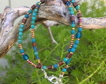Rustic Bohemian Wrap Bracelet- Beaded Wrap- Charm- Bohemian Boho Hippie- Bangle- Cuff- Multi Strand- Stacking-Natural-Wooden- Turquoise