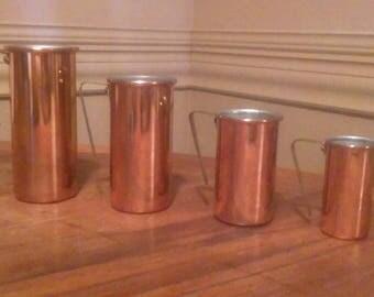 NOS 1960sVintage Copper Cylinder measuring cup set 4 pieces