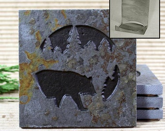 Etched Natural Stone Coaster Set with Holder - Bear in Pine trees on Copper Slate