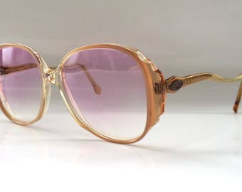 80s Vintage German Clear Peach Womens Sunglasses with Curvy Arms