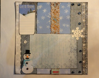 Christmas - Holiday Blues in the Snow 8 x 8 scrapbook page