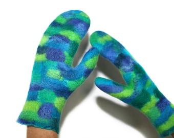 Handmade Felted Mittens Multicolor Felt Hand Warmers Wool Silk Winter Fashion Accessory OOAK Felt Gift