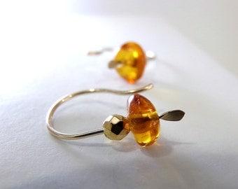Amber Earrings, Amber Gold Earrings, Gold Earrings, Petite Earrings, Baltic Amber Ear Climber Earrings Gold, Ear Crawler - Golden Amber