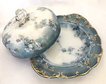Antique Ridgways Flow Blue Covered Butter Dish//Lugano Pattern