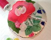 Pincushion, Vintage Embroidered Applique Pincushion, Ready to Ship