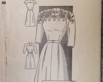 "Vintage Mail Order Dress Pattern 40s 35"" bust with transfer Aluce Brooks Design"