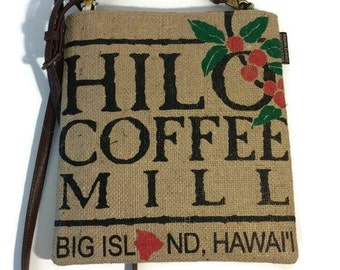 MTO. Hilo Mini-Cross Body Bag. Repurposed Burlap Hilo Coffee Mill Coffee Bag. Handmade in Hawaii.