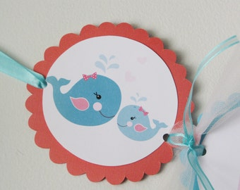 Nautical Banner, It's a Girl, Birthday, Whale, Sailboat, Teal and Coral