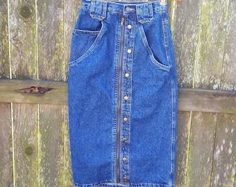 70s Skirt, Denim Skirt, Midi Skirt, Vintage Skirt, Blue Jean Skirt by Overtime Size 00