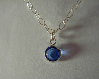 Sapphire Blue  glass pendant necklace sterling silver #2024