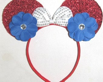 Minnie mouse inspired party favor headband bow ears disneyland birthday hair accessorie 4th of july party Onesize Child-Adult
