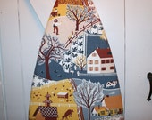 Vintage Barkcloth Farmhouse Ironing Board Cover - Gorgeous Colors and Wonderful Whimsical Farm Design