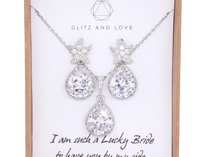 Starfish - Luxe Cubic Zirconia Starfish Earrings Crystal Teardrop Necklace, Bridal, Beach Wedding Earrings, Bridesmaids, silver