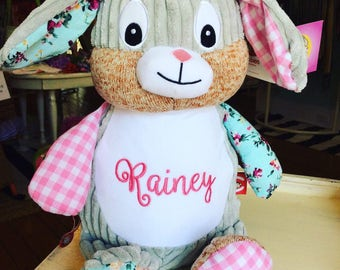 Monogrammed Easter Bunny Plush. Monogrammed girl and boy easter bunnies. Personalized bunny. Patchwork gingham floral bunny