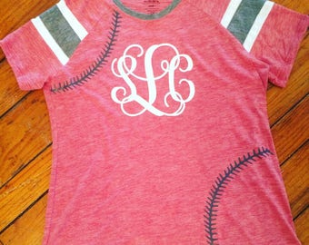 Womens short sleeve baseball tee. Vinyl stitches and monogram. Personalized monogrammed. Baseball mom. Baseball fan