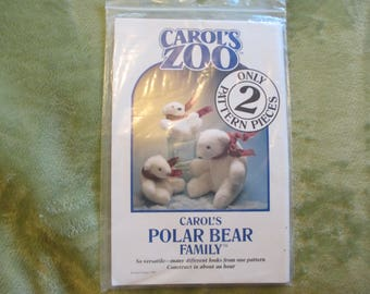 Carol's Zoo, Polar Bear Family, Uncut, Only 2 Pattern Pieces