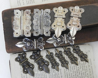 12 Ornate Small Cast Metal Vintage Hinges Jewelry Treasure Box Steampunk Assemblage Craft Supply Repurpose