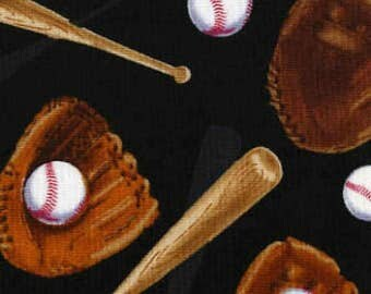 Timeless Treasures Black Baseballs Bats Gloves Fabric by the yard or by the select cut C4122-BLK