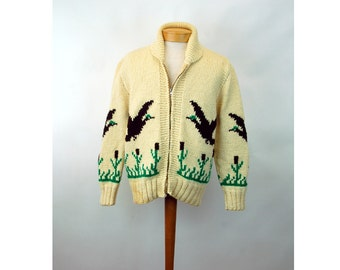 1950s cowichan sweater jacket wool zipped duck geese and cat tails Novelty Canadiana  Unisex