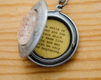 The world is round and the place which may seem like the end may also be only the beginning - Graduation Necklace - Moving Away