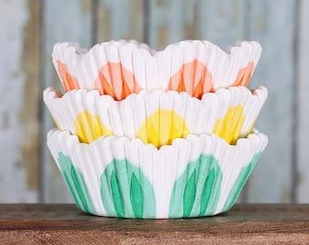 Spring Petal Cupcake Liners, Spring Tulip Cupcake Liners, Orange Cupcake Liners, Yellow Cupcake Liners, Green Cupcake Liners, Baking Cups