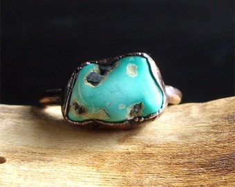 Turquoise Ring Raw Gemstone Birthstone Size 6 December Copper Jewelry Robins Egg Blue Midwest Alchemy