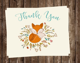Little Fox, Thank You Cards, Baby Shower, Birthday, Country, Chic, Rustic, 24 Folding Notes, FREE Shipping, LFXGN, Boy, Girl, Gender Neutral
