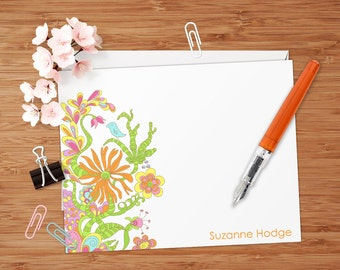 Funky Flower Doodles - Set of 8 CUSTOM Personalized Flat Note Cards/ Stationery