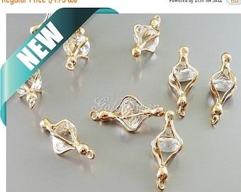 15% SALE 2 rose gold encased crystal glass jewel pendants, rose gold clear glass jewel necklace ...