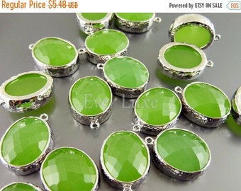 15% SALE 2 peridot opal faceted oval glass in hammered bezel setting for jewelry making / charms 5074R-PEO (bright silver, peridot opal, 2 p