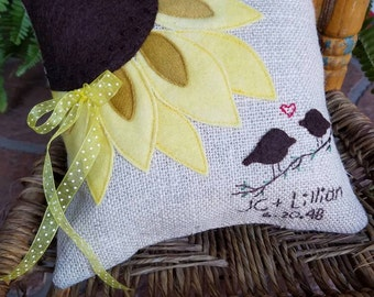 Personalized Custom Sunflower Ring Bearer pillow for nature inspired wedding
