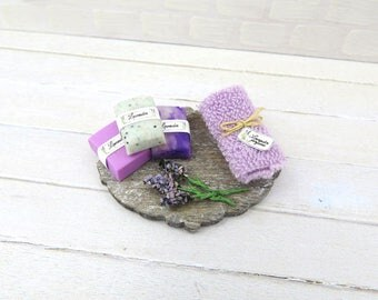 Lavender bathroom set for dollhouse in 1:12 scale