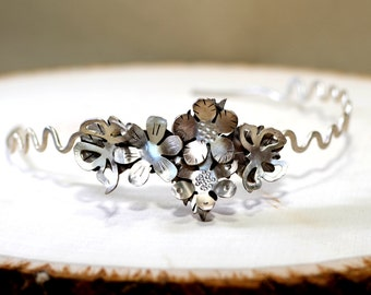 Sterling Silver Custom Tiara with One of a Kind Handmade Butterfly Garden  - TI001